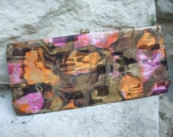 Elegant Cloth Print Lame Clutch Bag c 1960