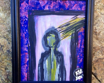 "Original framed abstract painting ""Distracted"""