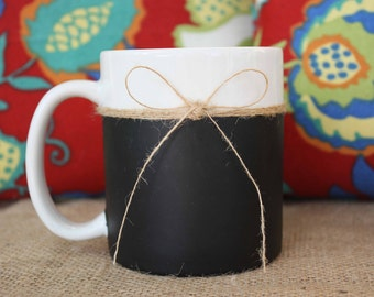 Reclaimed CHALKBOARD & Burlap Coffee Mug -  TEACHER Gift - HOLIDAY Gift -Burlap String Jute-Reclaimed Upcycled - Wedding - Birthday