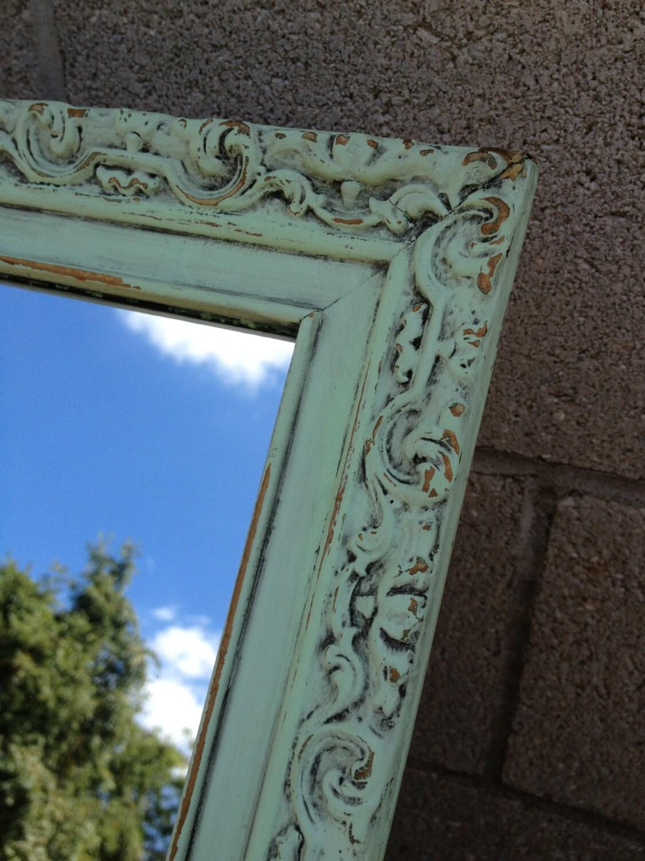 Ornate Wood Amp Metal Medicine Cabinet Mirror Shabby Chic Mint