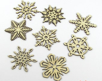 Set of 8 Wood Snowflakes - 2013 Collection - Laser-Cut Wooden Snowflake Holiday Ornaments - 3 Inch Diameter