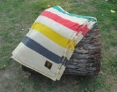 EARLYS of WiTNEY 5 POiNT wOOL BLANkET. MULTiSTRiPED iNDiGO yELLOw RED gREEN. NATiVE AMERiCAN. fUR TRADiNG. - ShastaBrookVintage