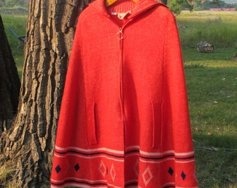 Vintage 60s Banff Poncho Sweater with Arm Slits - Red with White and Blue Stripes and Blue Diamonds - Wool Cape - Hippie Folk Boho Bohemian