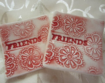 SALE Red and White Friendship Dishes Tea Bag Holders Ring Holders