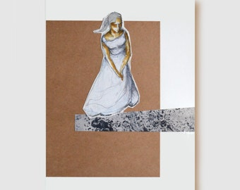 Woman observing - Fine art female drawing- collage on acid free paper- movement, comtemplation, waiting, moment by Cristina Ripper