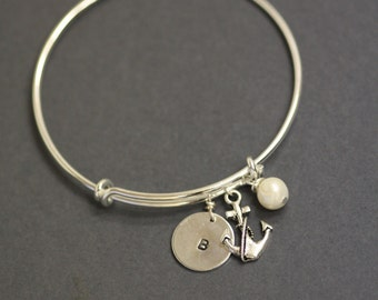Nautical Bracelet - adjustable bangle, custom initial disc, hand stamped jewelry, pearl bangle, letter, alphabet