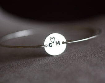 Personalized -Custom,Coin, stamped jewelry, Initial Bracelet, Initial Bangle, silver  Bracelet , Monogram Bracelet,Heart, love, Valentines