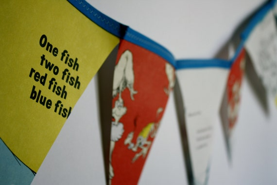 One Fish Two Fish Book Bunting Story Book Pennant Dr Seuss