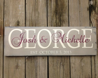 Personalized family name sign. Family Established sign. Wedding gift.