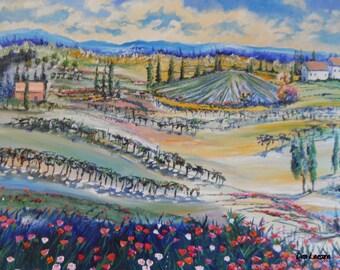 "Memories, Vineyard Oil Painting, European Farmland, 36 "" w x 24"" h, Gallery Wrap, Dan Leasure"