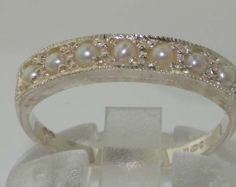 English 925 Sterling Silver Freshwater Pearl Victorian Half Eternity Wedding Band Ring - Customize: 9K, 14K, 18K, Yellow, Rose, White
