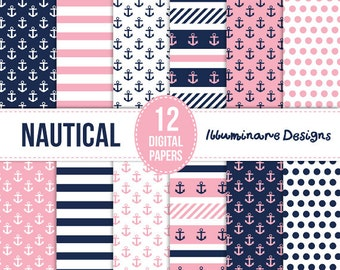 Nautical Digital Paper: Navy Blue and Pink Digital Scrapbooking Paper - Anchors, Stripes and Polka Dot Seamless Patterns - Commercial Use Ok