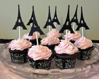 12 Eiffel Tower Cupcake Toppers, Paris Birthday Party, Paris Cupcake topper, eiffel tower decor