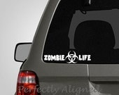 Zombie Life Vinyl Car Decal - zombie decal - biohazard decal