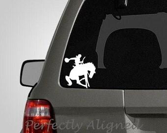 Cowboy Bucking Bronco Horse Riding Vinyl Car Decal