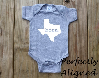 Texas Home State with BORN Unisex Infant Bodysuit/Creeper - Baby Boys or Girls