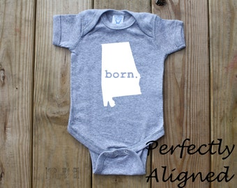 Alabama Home State BORN Unisex Infant Bodysuit/Creeper - Baby Boys or Girls