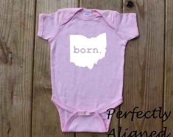Ohio Home State with BORN Unisex Infant Bodysuit/Creeper - Baby Boys or Girls