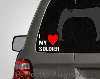 I Heart My Soldier - White Text with a Red Heart - Army Spouse Car Decal - Army Wife - Laptop Decal