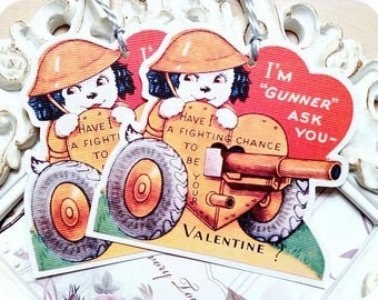 Puppy Valentine Tags - Set of 6 - Valentine Gift Tags-Valentine Favor Tags-Valentine Treat Tags-Classroom Valentine-Retro Valentine Card
