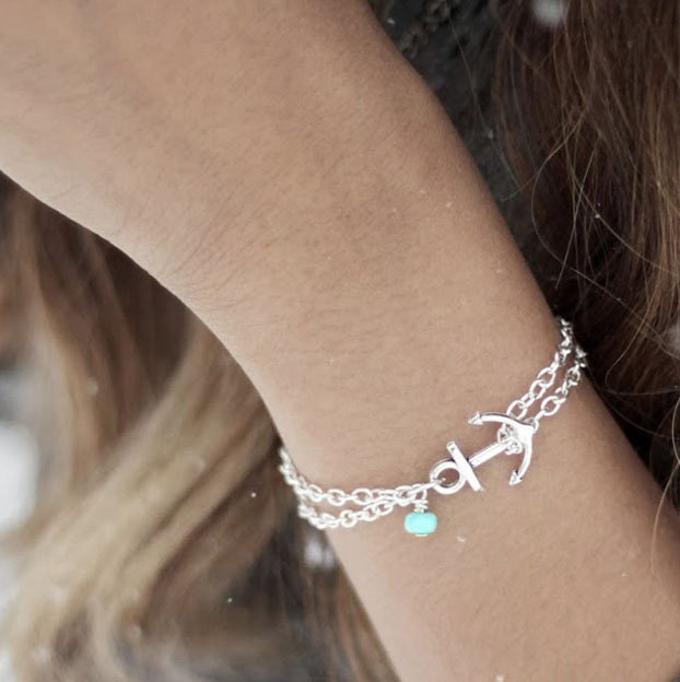 Anchor Bracelet Turquoise Anchor Bracelet Nautical Jewelry