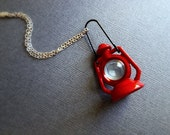 Guiding Light Miniature Cherry Red Lantern Necklace. Camping Adventures. Vintage Style. Kitsch. Oddities. Unisex. Silver. Fun. Unique Gifts.