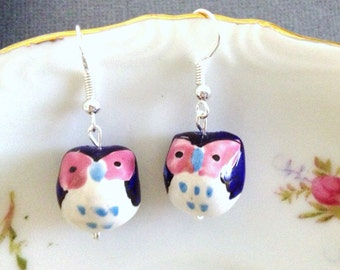 Owl Dangle Earrings. Hand Painted Ceramic. Cobalt Blue. Pink. White. Whimsical. Cute. Owl Jewelry. Silver. Fun. Handmade. 10 Dollars.
