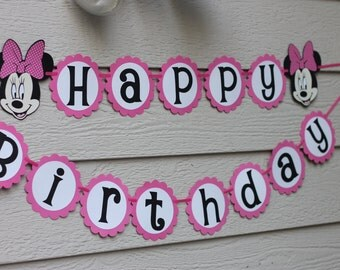 Minnie Mouse Hot Pink or Red Polka Dot Happy Birthday Party Banner Garland Can be Personalized With Name or Color Choice