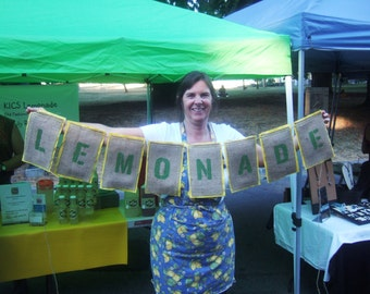 Custom Listing for Kics Upcycled LEMONDADE Burlap Banner (Lime Green Letters and Yellow Felt Backing) Eco-Friendly Signage