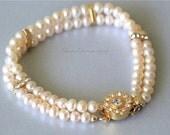 Pearl Bracelet, Light Peach Potato Freshwater Pearls, Swarovski Crystal Spacer Bars, Multi Strand, Gold Flower Clasp with Rhinestone. B006.