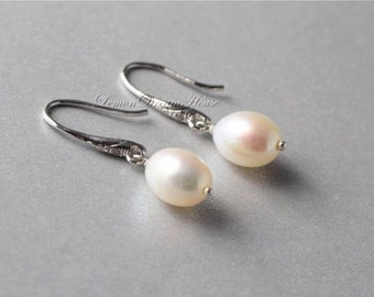 June Birthstone Earrings, Freshwater Pearl Earrings, Sterling Silver Earwires with Cubic Zirconia, White Rice Freshwater Pearls. Gift. E187.