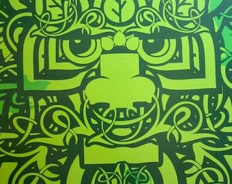 Natrl Green Man Digital Art Print