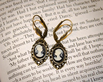 Bronze - Black Jane Austen Style Cameo Earrings