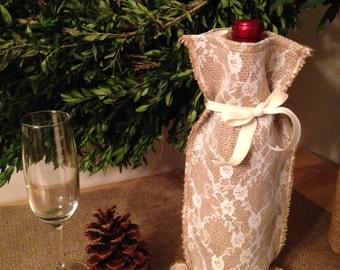 Lace Burlap wine bag