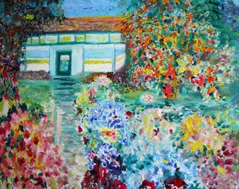 Willow Street House Oil , Impressionism Oil, House and Flowers, Home Decor Painting, Original Oil Painting,Kath