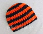 Halloween Baby Hat, Crochet Baby Hat, Orange and Black Baby Beanie