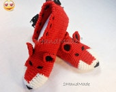 Unisex Adult Chunky Crochet Fox Slippers Women Men Children Teens Funny Silly Winter Merino Wool Woodland Red Ginger Animals Woodland