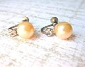 Pearl Rhinestone Earrings Vintage Screw on Faux Jewelry Jewellery Bridal Wedding Fashion