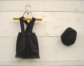 baby boy Pinstripe black 1-3yrs overalls with hat, black overalls, boys overalls, adjustable overalls short or knickers length