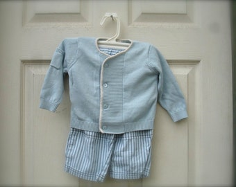 VINTAGE baby blue sweater and pants for little boys, blue sweater for boys (6-9 months)