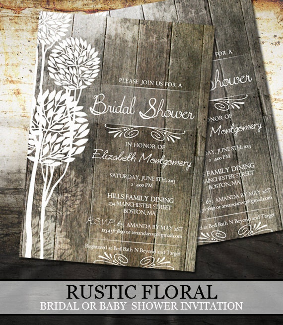rustic wood bridal shower invitations digital file printable, Wedding invitations