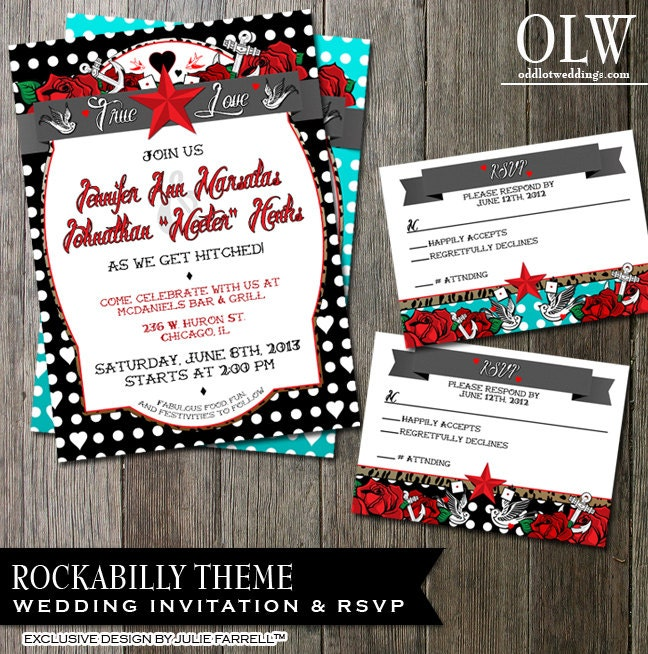 Rockabilly Wedding Invitation Polka Dot Stationery Tattoo – Tattoo Party Invitations