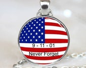September 11 2001 memorial  pendant, Memorial Photo necklace charm (PD0274)