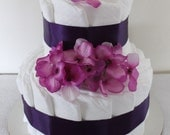 Purple and Lavender Two-Tier diaper cake