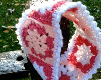 Pink Crocheted Winter Headband- Granny Squares- Crochet Womans Ear Warmer