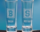 2 Personalized Monogrammed Etched Shot Glasses - Great Groomsman, Best Man, Wedding Party Gift