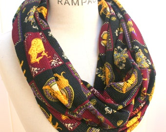 Women Scarves, Animal Print Scarves, Infinity Scarf, Gift for mom teacher, Elephant, Vintage, Lightweight Scarf scarfs- By PIYOYO