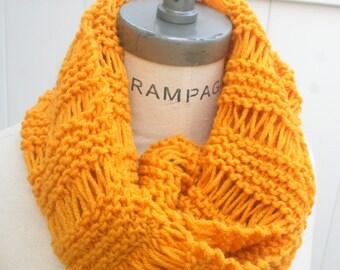 Mustard  Yellow Knit infinity Scarf, Women Scarves, Hand Knit Winter scarfs Neckwarmer - By PiYOYO