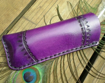 reading eyeglass case - tooled leather - purple leather - handmade