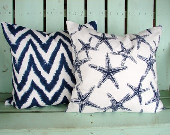 "Set of 2 18"" X 18"" navy blue, white modern Premier chevron diva slub sea friends print - Decorative pillow cover-throw pillow-accent pillow"